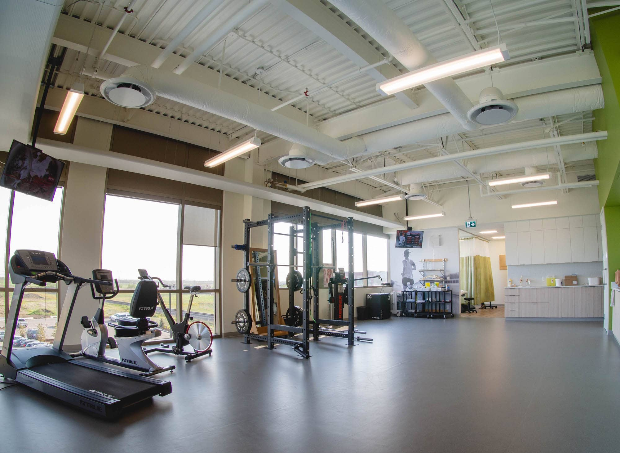 physiotherapy clinic in edmonton training facility with large windows